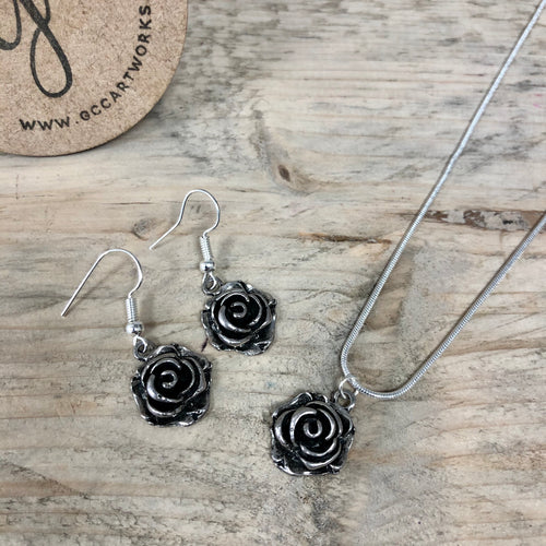 Matching Necklace and Drop Earrings - Roses