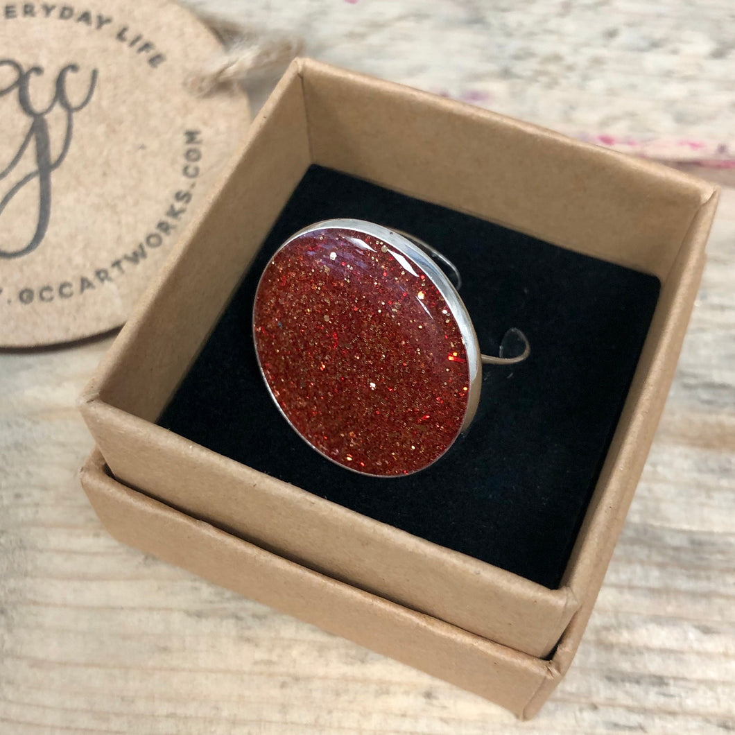 Resin Art Statement Ring - Red Glitter