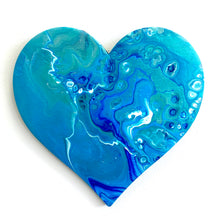 Acrylic Pour Original Abstract Artwork - Picture Wall Hanging Heart