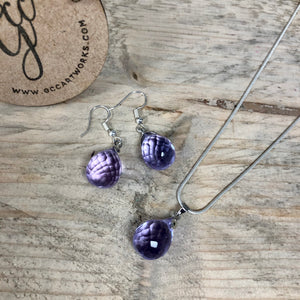 Matching Necklace and Drop Earrings - Purple