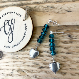 Handcrafted Drop Earrings - Teal and Silver Heart