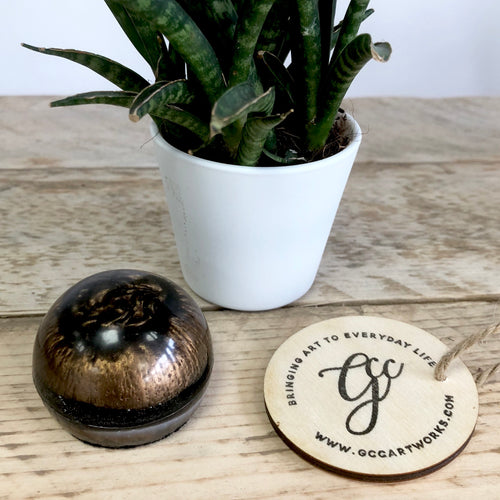 Small Resin Paperweight- Bronze and Black - GCC Artworks - Bringing Art to Everyday Life