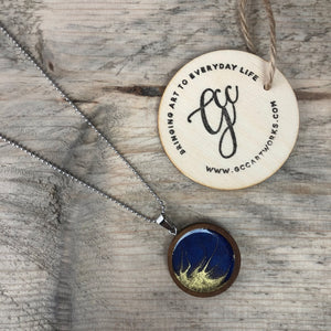 Resin Art Jewellery - Blue and Gold Necklace