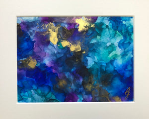 EFFERVESCENT - Original Turquoise, Gold and Purple Abstract Ink Artwork - GCC Artworks - Bringing Art to Everyday Life