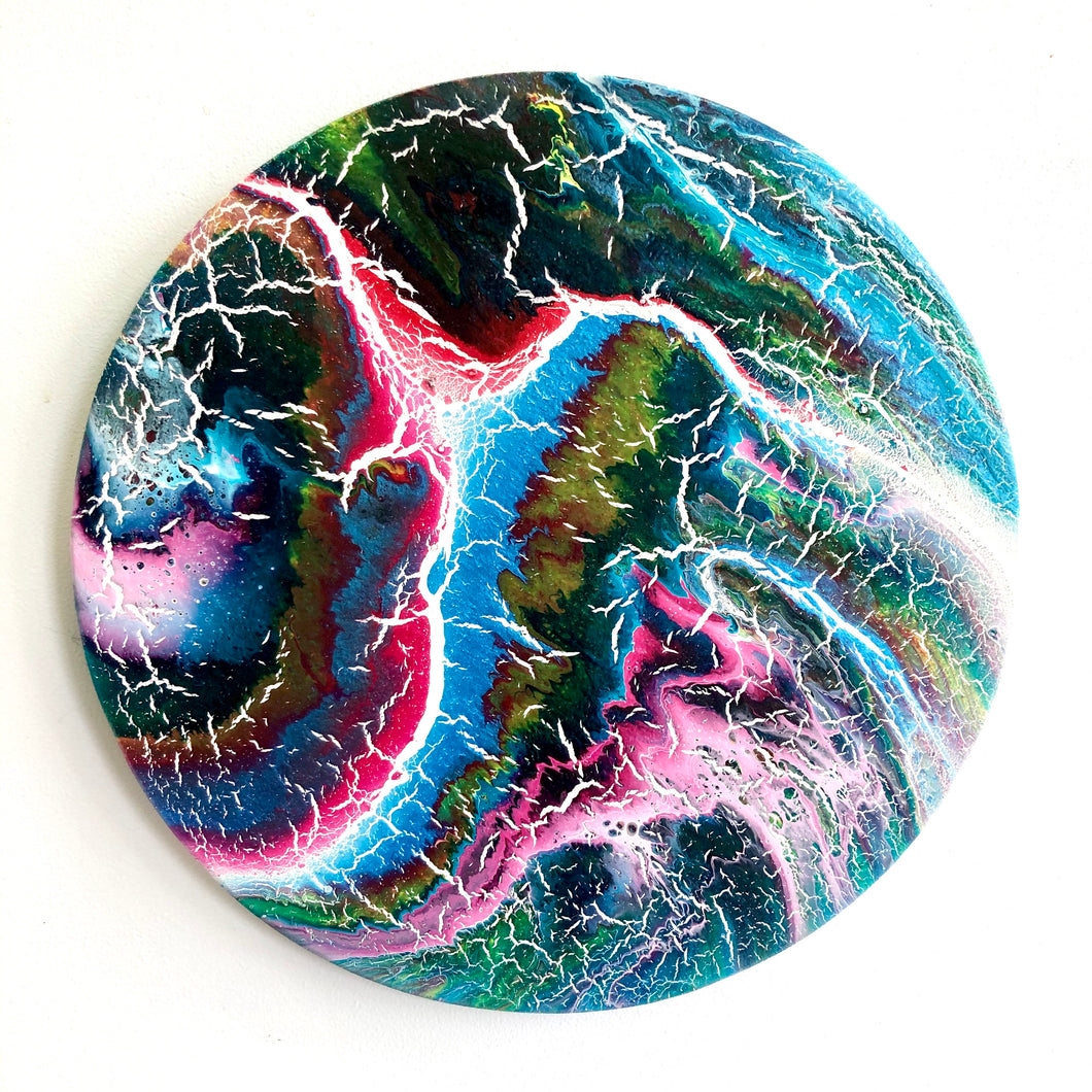 PINK STORM - Acrylic Pour Original Abstract Artwork - 25cm Diameter