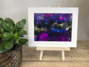 PUNCHY - Original Black, Gold and Purple Abstract Ink Artwork - GCC Artworks - Bringing Art to Everyday Life