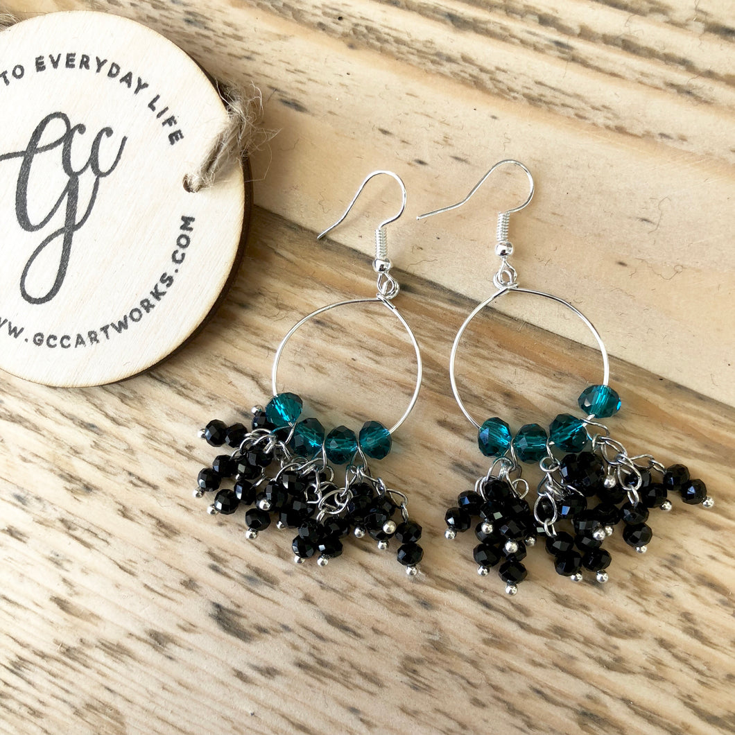 Handcrafted Drop Earrings - Black and Teal Tassels