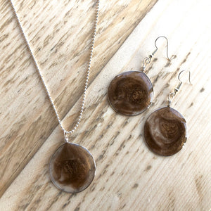 Mocha Resin Art Jewellery - Matching Necklace and Drop Earrings