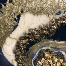 "Navy and Gold Geode Abstract Artwork- 10.5"" x 9"" with Stand"