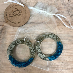 Resin Hoop Earrings - Gold and Turquoise