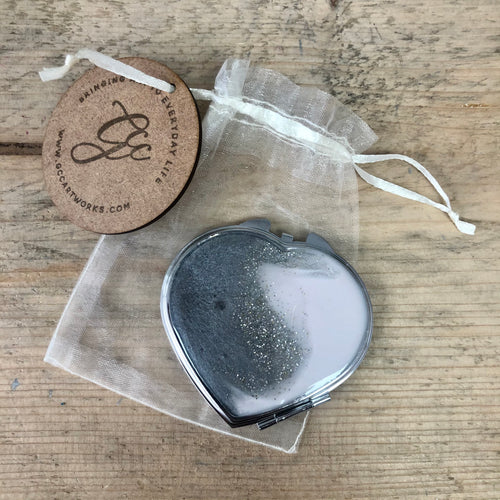 Resin Art Compact Mirror - Pink and Grey