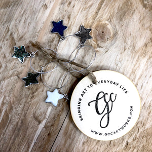Star Wine Glass Charms - Set of 5 - GCC Artworks - Bringing Art to Everyday Life