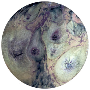 "AVOCADO - Original Abstract Resin Artwork - 19.5"" diameter"