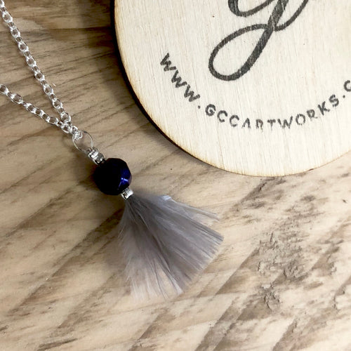 Feather Necklace - Grey and Purple