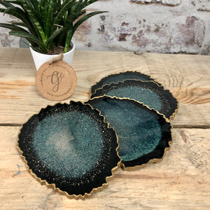 Reversible Resin Art Coasters - Set of 4