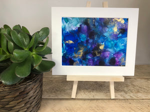 EFFERVESCENT- Original Turquoise, Gold and Purple Abstract Ink Artwork - GCC Artworks - Bringing Art to Everyday Life