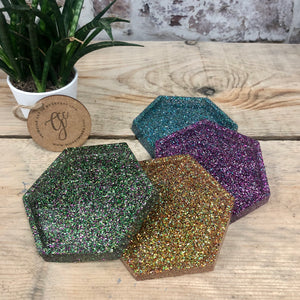 Glitter Resin Art Coasters - Set of 4