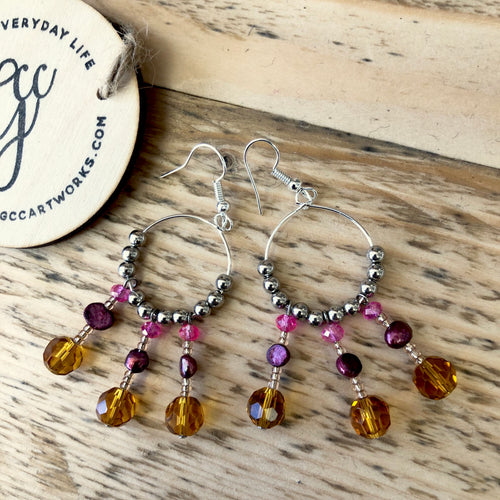 Handcrafted Drop Earrings - Amber and Pink Tassels