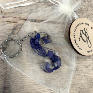 Memorial Flowers Resin Letter Keyring