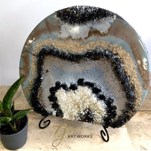 "Black and Bronze Geode Abstract Artwork- 10.5"" x 9"" with Stand - GCC Artworks - Bringing Art to Everyday Life"