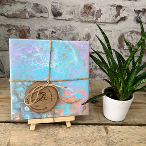 Original Abstract Acrylic Pour Art - Mini Study with Easel