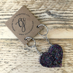Puzzle Heart Resin Keyrings - Multi Glitter