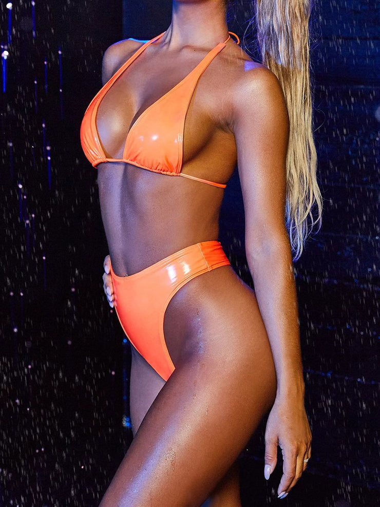 Sexy Fashion Fluorescent Pure Color Halter Bikini