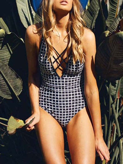 Sexy Plaid Cross Belt One Piece Swimsuits