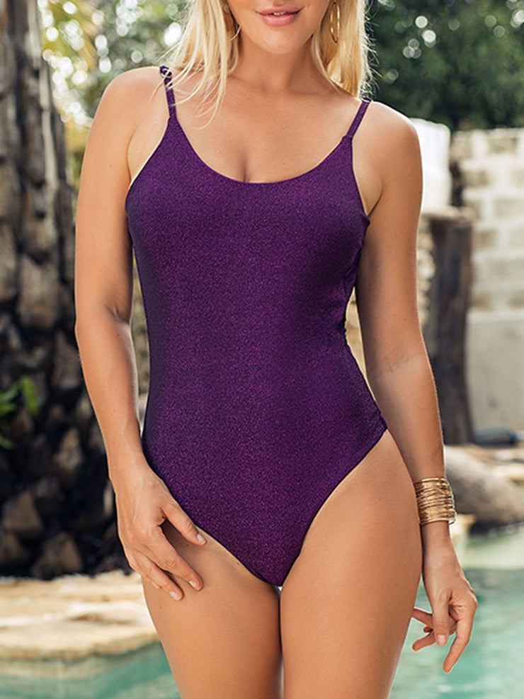 Sexy Solid Color Sleeveless One Piece Swimsuits