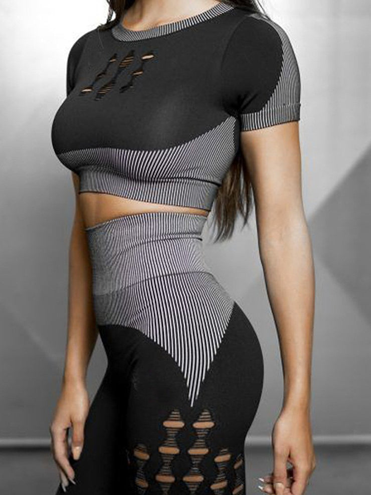 Knitted Seamless Hole Leggings Yoga Set