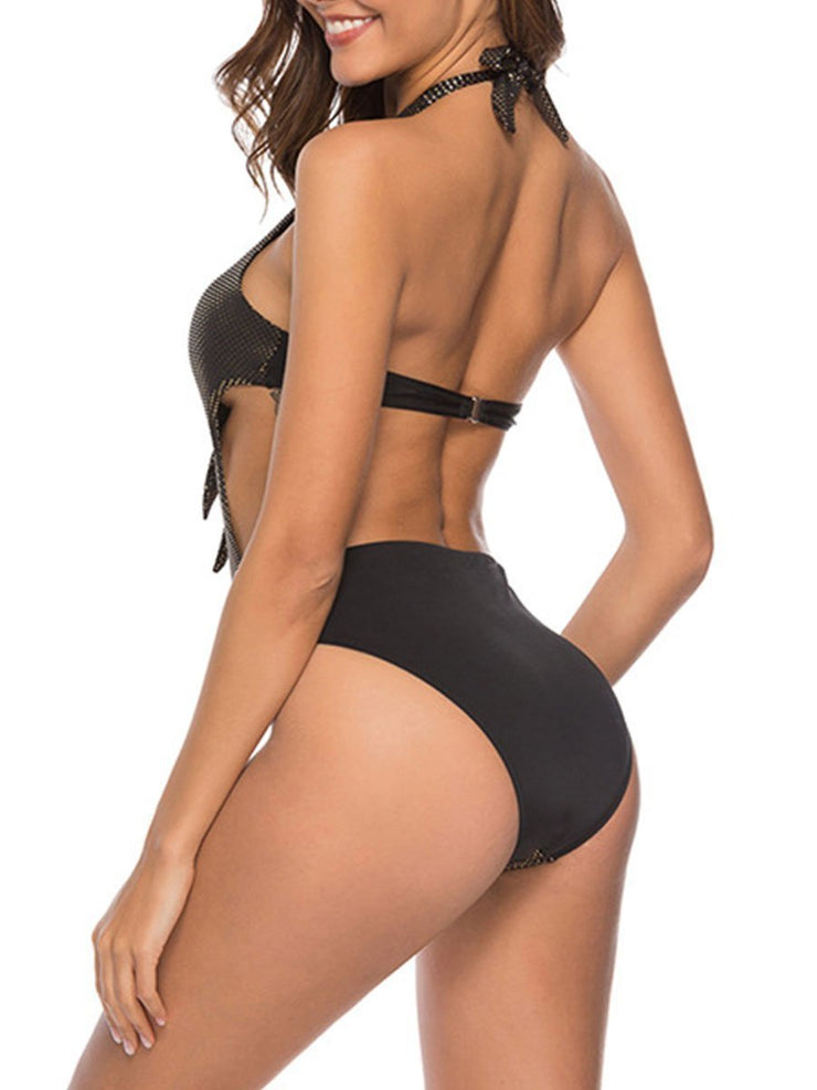 Deep V Backless Lace Up One Piece Swimsuits