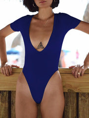 Sexy Solid Color V-neck One-piece Swimsuit