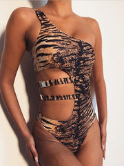 Leopard Print One-Shoulder Swimsuit