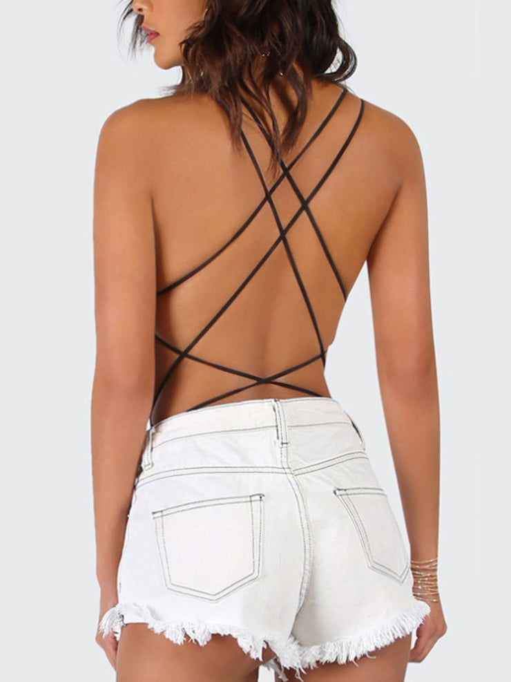 Off-the-shoulder Strappy Thong Jumpsuit