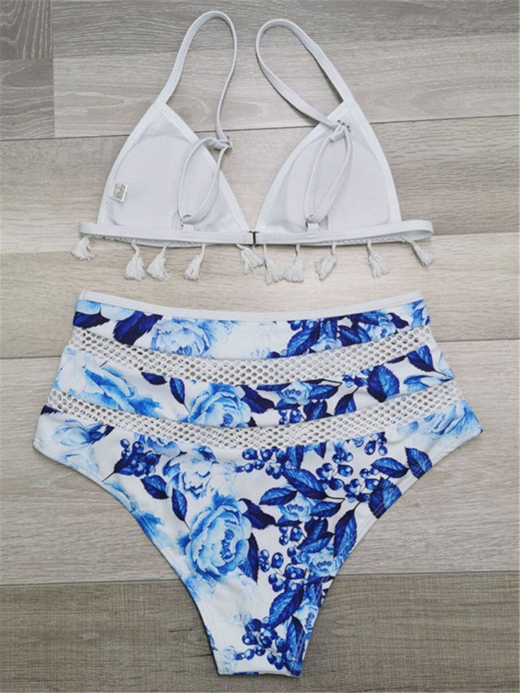 Fashion Sexy Print Tassel Hollow Split Bikini