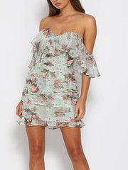 Off-shoulder Ruffled Sexy Floral Print Dress