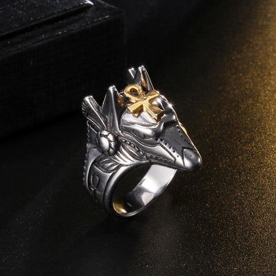 Chic Anubis Cross Titanium Steel Men Rings