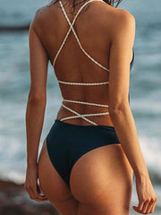 Solid Color Braided Backless One Piece Swimsuits