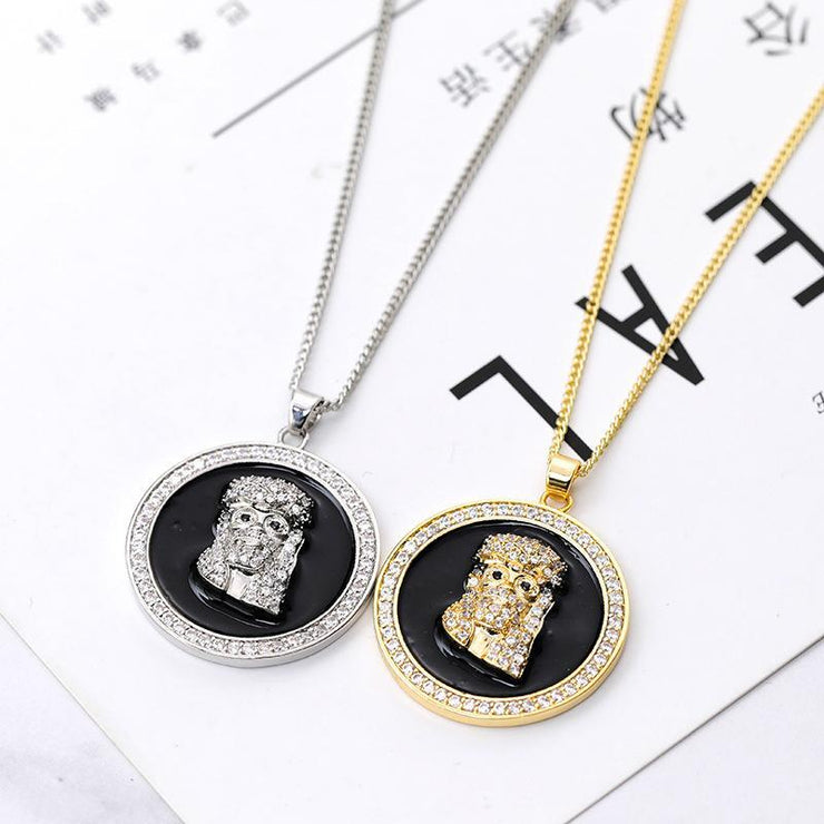 Hip Hop Jesus Shape Rhinestone Necklace