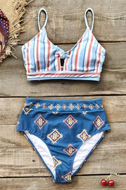Red and Blue Print Knotted Bikini