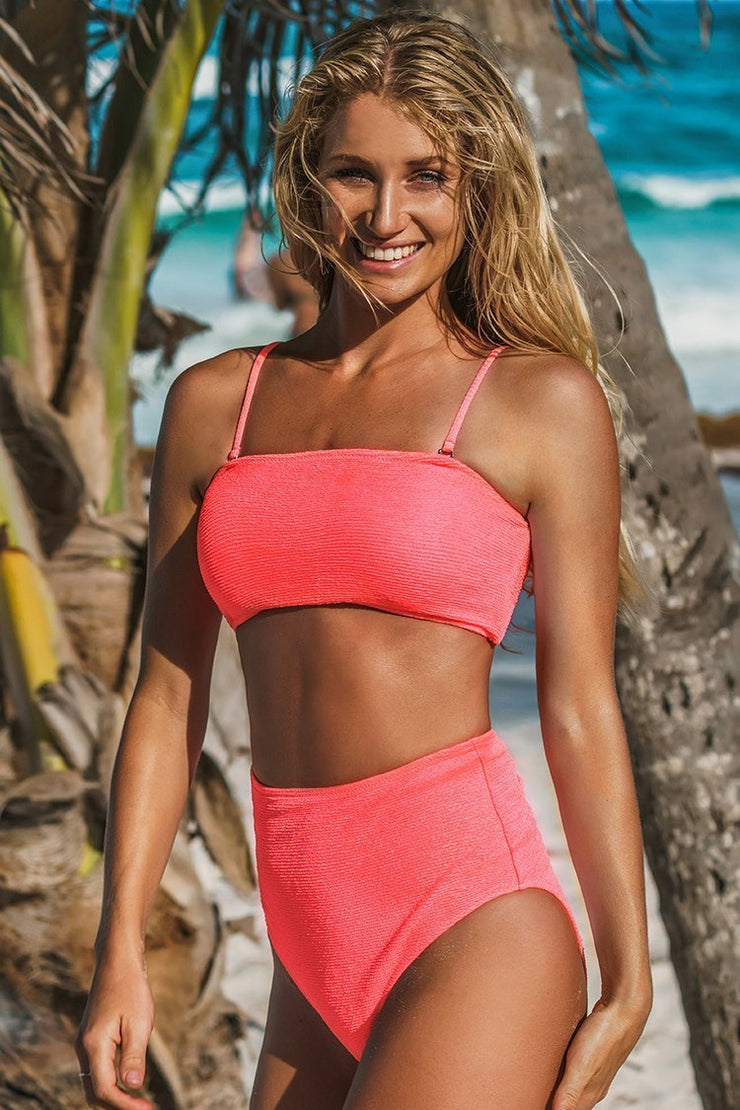 Neon Pink High-Waisted Bikini