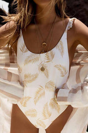 Ruffled Leaf Print One-Piece Swimsuit