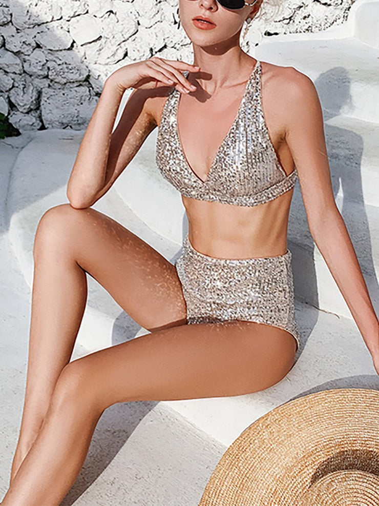 Sequined Sexy High Waist Bandage Split Bikini
