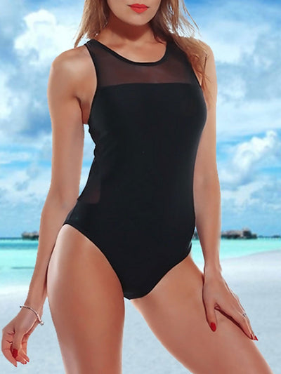 Sexy Mesh Stitching Hollow One Piece Swimsuits
