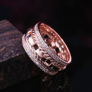 Fashion Hip Hop Electroplated Imitation Gold Ring with Zircon