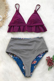 Plum and Floral Reversible Bikini