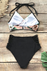 Pink Floral Halter Bikini With Strappy Black Bottom