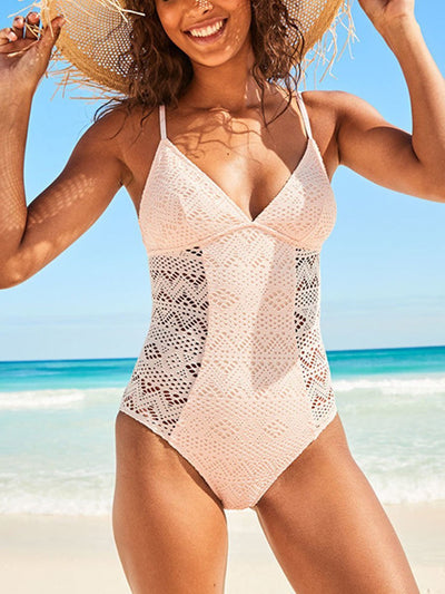 Sling Lace Stitch One Piece Swimsuit