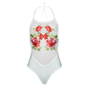 Sexy Round Collar Sleeveless Perspective Embroidered One-Pieces Swimwear