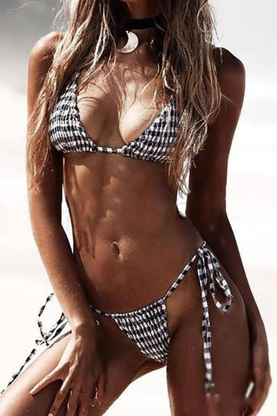 Spaghetti Strap  Lace-Up  Contrast Stitching  Plaid Bikini